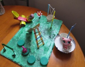 Creative Playground Makeover with Recycled Items