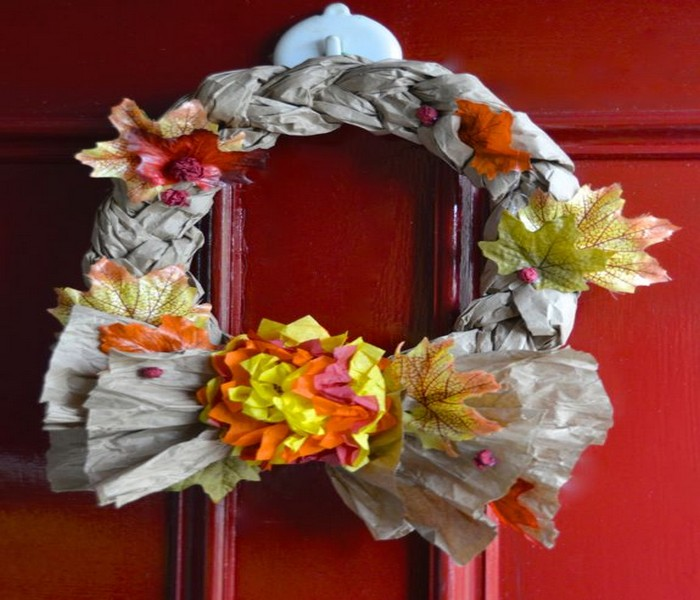 Fall Wreath Design With Recycled Material