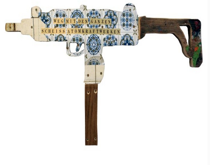 Recycled Wood Into Fake Weapons