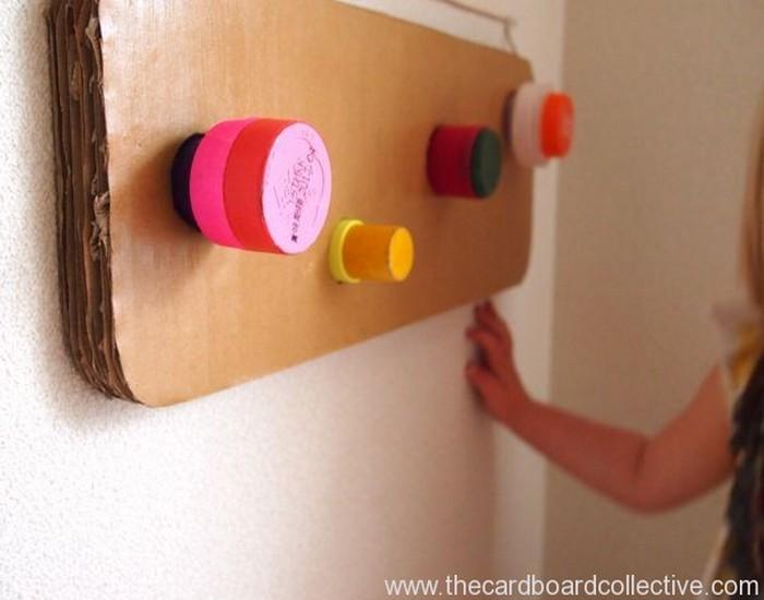 Cardboard and Cap Peg Rack Idea