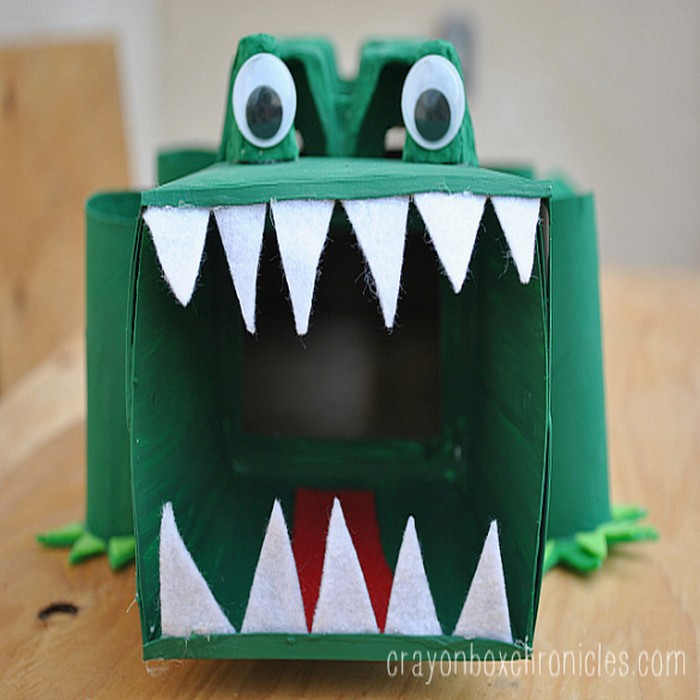 How To Make An Alligator Affirmation Box Recycled Crafts