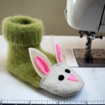 Unique Idea Fuzzy Bunny Slippers from Recycled Felted Sweaters for Kids