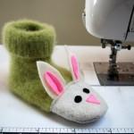 DIY Fuzzy Bunny Kids Slippers Pattern