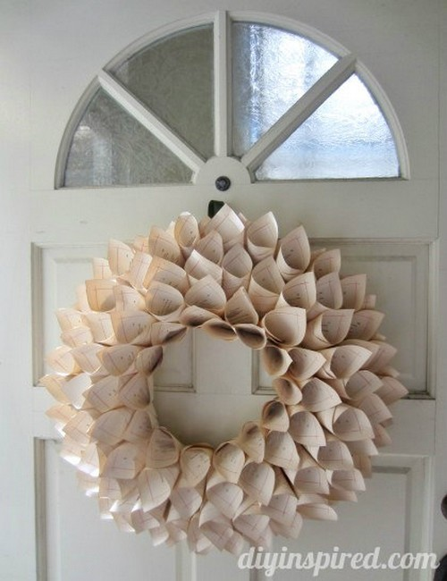 DIY Recycled Book Pages Wreath Idea