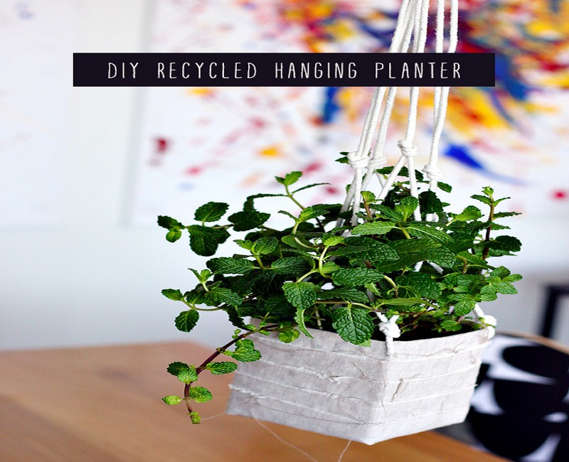 Diy recycled hanging planter best use of waste material for Best use of waste