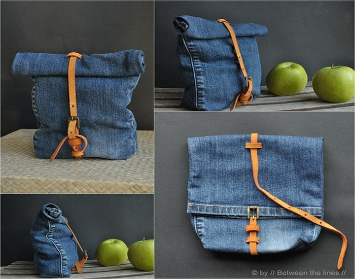 Old Jeans Lunch Bags
