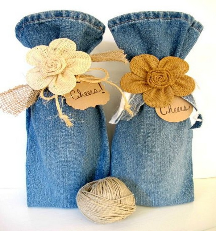 Old Jeans Pant into Wine Bottles Bags