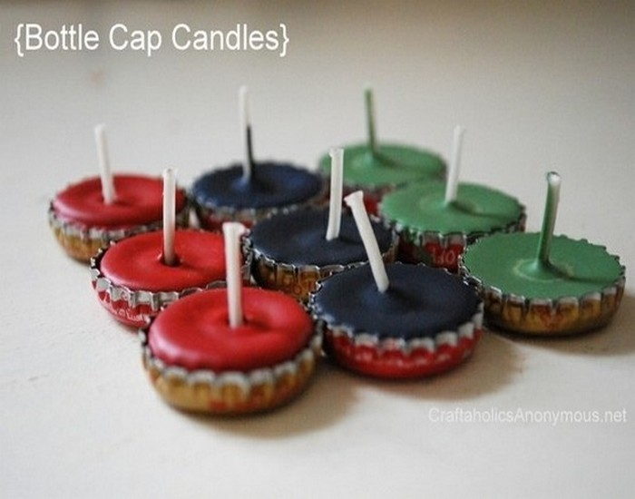 Recycled Bottle Caps Candle