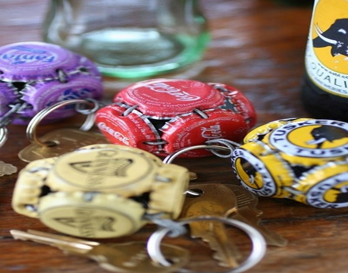 Recycled Bottle Caps Key Ring Ideas