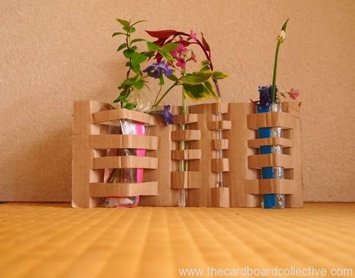 Woven Cardboard Vase Designs