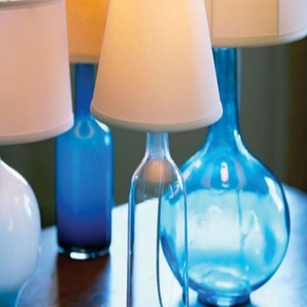 Breezy Blue Glass Bottles Lamp