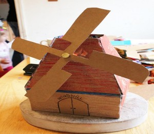 Windmill Created with Cardboard by Recycling Art