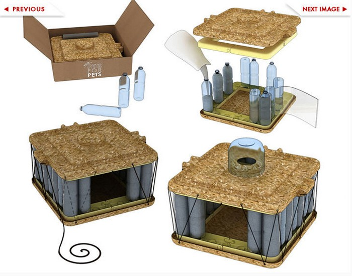 Design a beautiful pet house made of recycled bottles for Cool things to buy for your house