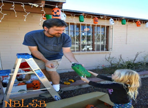 Recycled Bottles Halloween Hanging