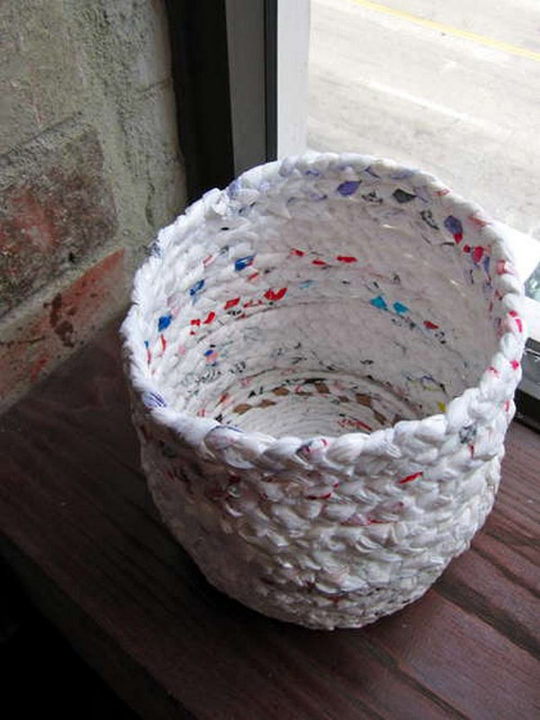 Recycled Nylon Bags to Handmade Basket