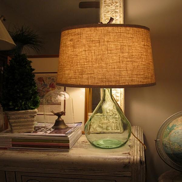 Rustic Charm Glass Bottles Lamp