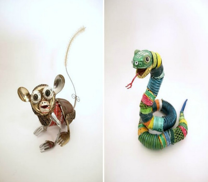 Design animal sculptures with garbage recycled things for Things made from waste