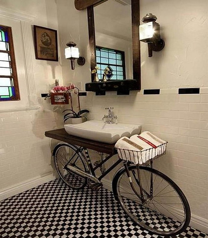 Turn an Old Bike Into a Bathroom Counter