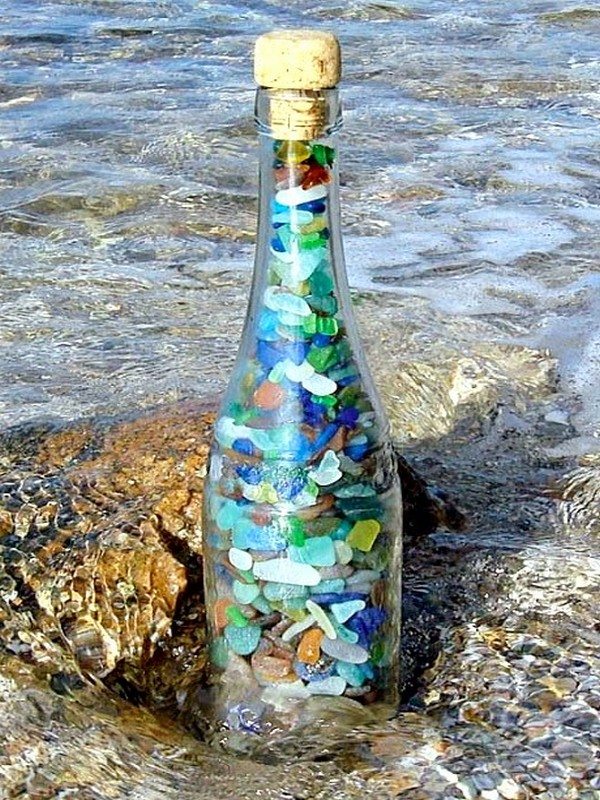 Bottle Filled with Sea Glass