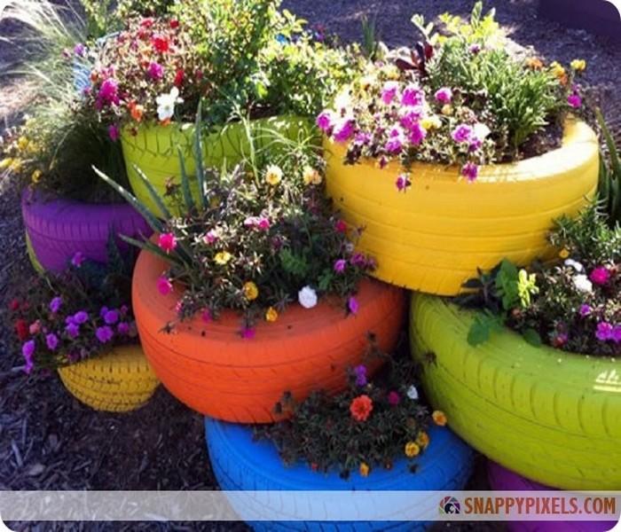 DIY Old Tires Beautiful Flower Ideas
