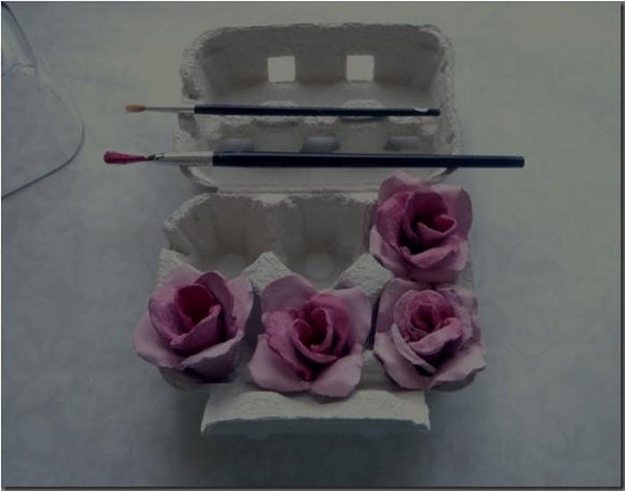 DIY Recycled Egg Carton Pink Rose