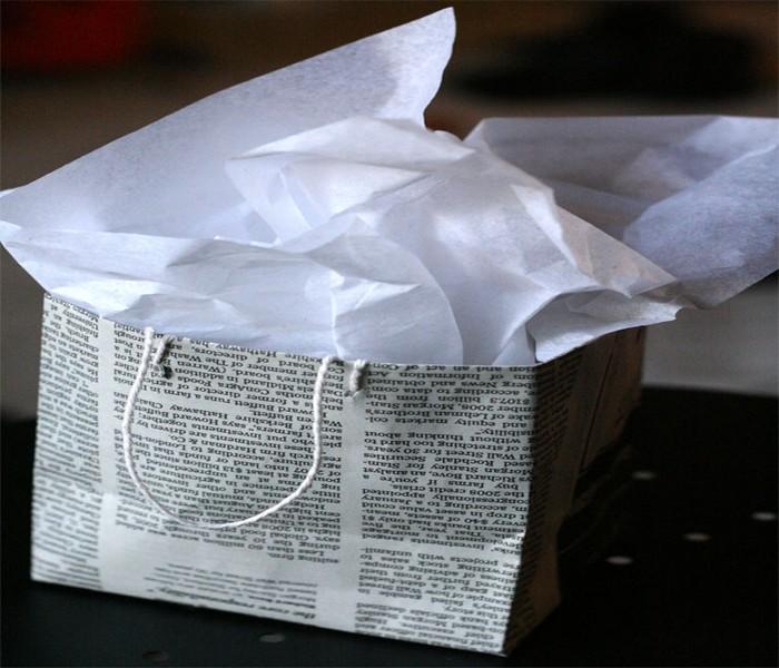 DIY Recycled Newspaper Gift Bags