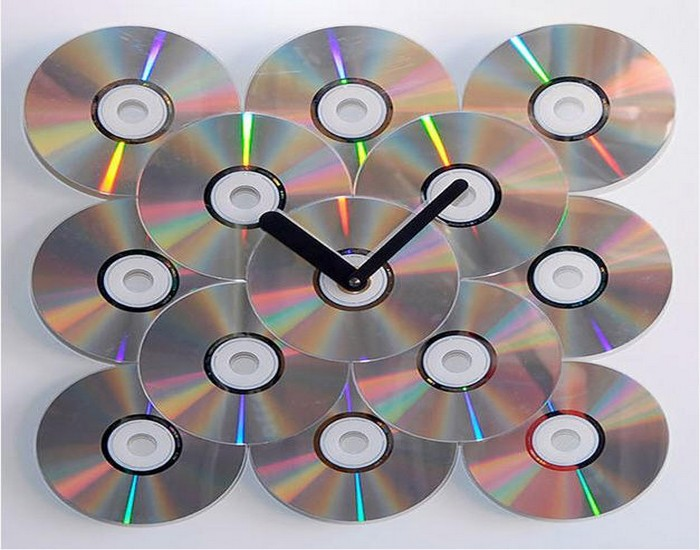 Recycled CDs Wall Clock