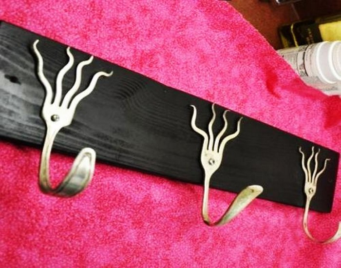 Wall Hooks from Recycled Metal Tableware Art