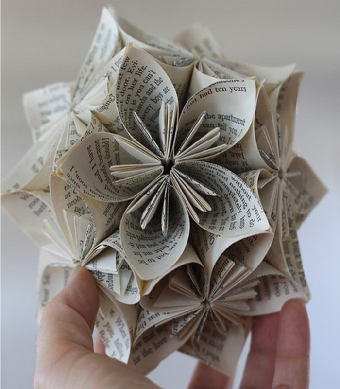 Recycled Book Pages Handmade Flowers