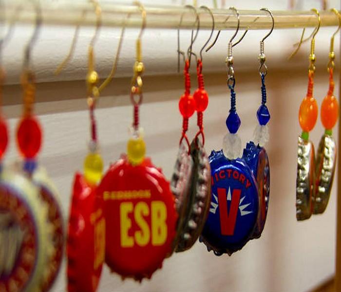 Recycled Bottles Top Caps Earrings