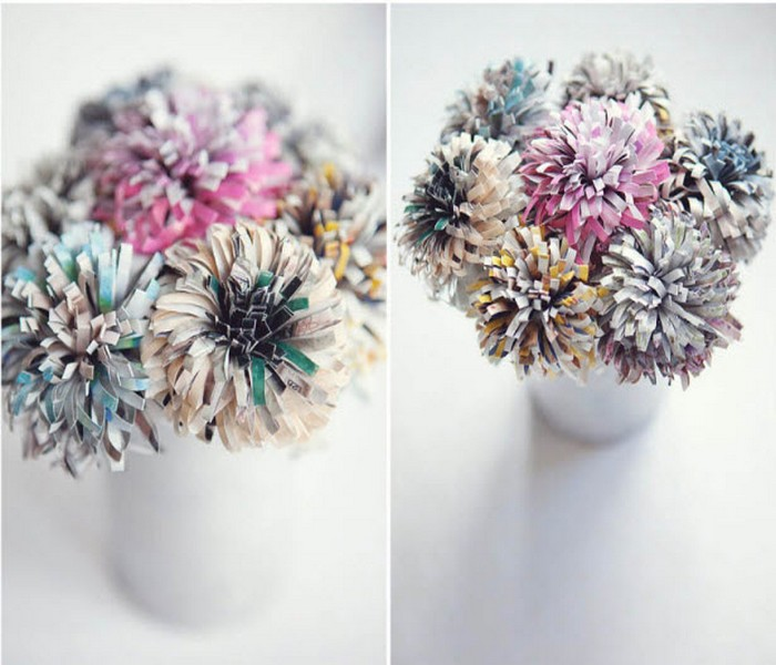 Recycled Old Newspapers Flowers Vases