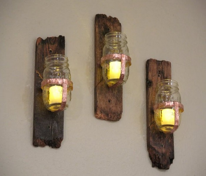 Recycled Wood Mason Jars Wall Decor Idea
