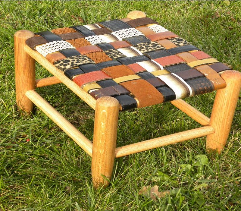 Upcycled Belt Stool Idea