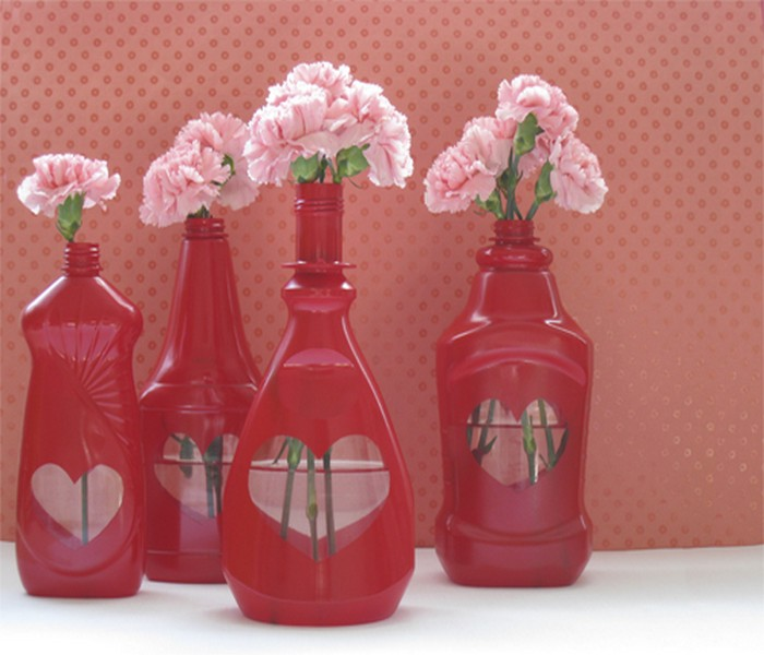 Upcycled Old Plastic Bottles Valentines Day Craft idea