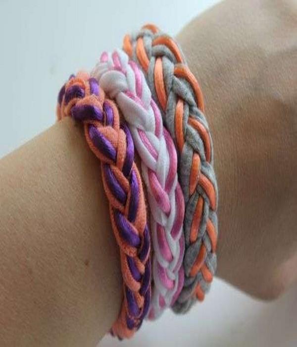 DIY Upcycled Fabrics T-Shirts Bracelets