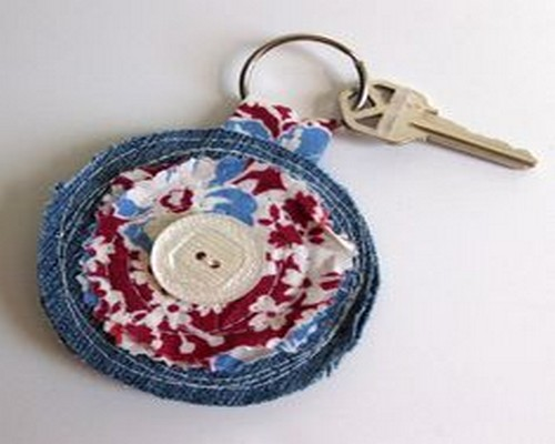 Recycled Blue Jean Key Ring