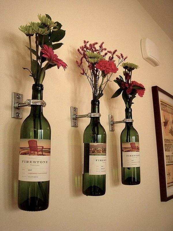 Recycled Glass Bottles Decor Idea