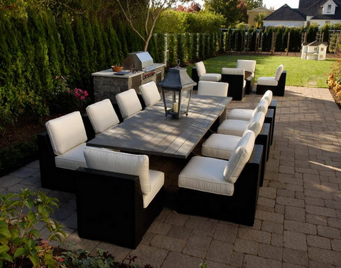 Simple Patio Dining Table with Sofas