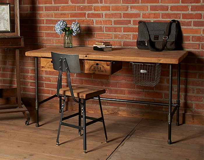 Reclaimed wood home office desks recycled things for Metal desk with wood top