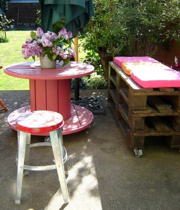Repurposed Wooden Spool Colorful Table