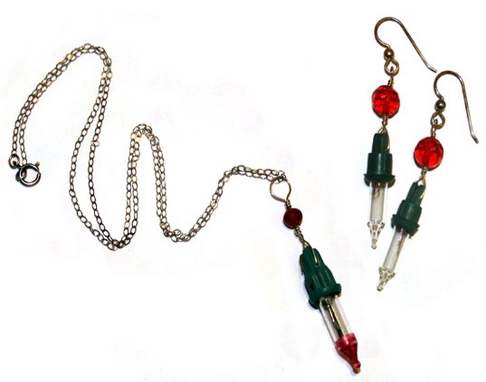 Upcycled Christmas Lights Jewelry