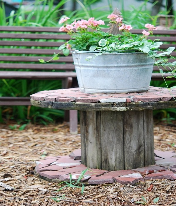 Upcycled Wooden Spool for Patio