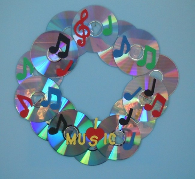 DIY Recycled CD,s Wreath