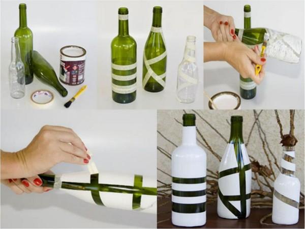 DIY Recycled Painted Bottle Flower Vase