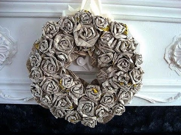 DIY Recycled Paper Wreath
