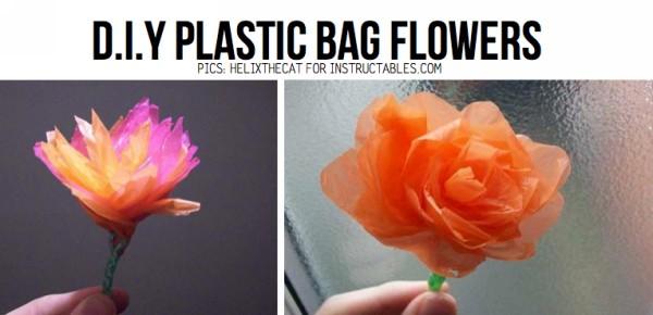 DIY Recycled Plastic Bags Beautiful Flowers