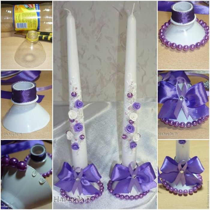 DIY Recycled Plastic Bottle into Beautiful Candle Holder