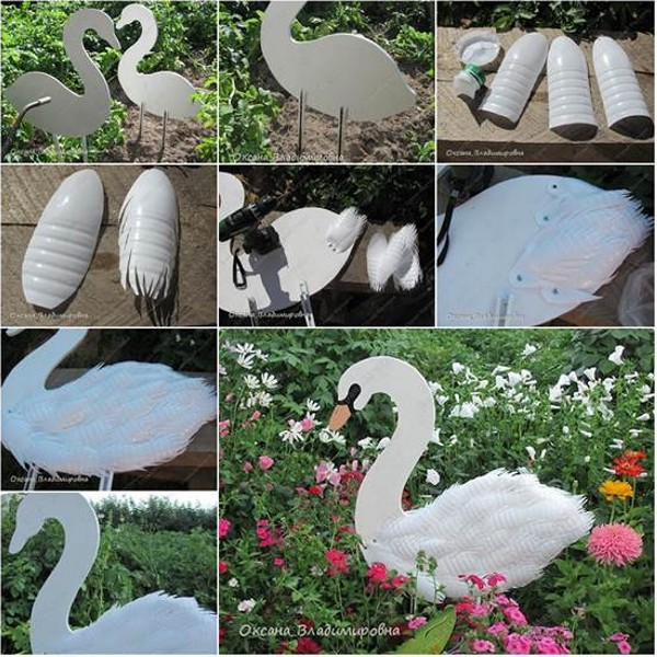 DIY Recycled Plastic Bottles Duck for Gaden Decor