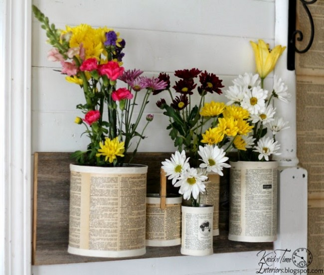 DIY Recycled Tin Cans Wall Hanging Flowers Pot
