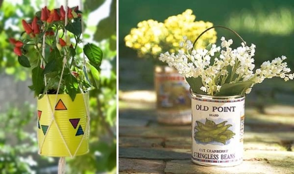 DIY Repurposed Painted Tin Cans Beautiful Flower Vase